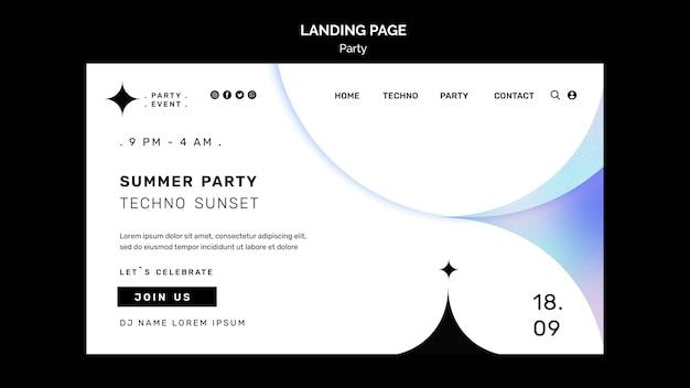 Página de destino da festa de verão