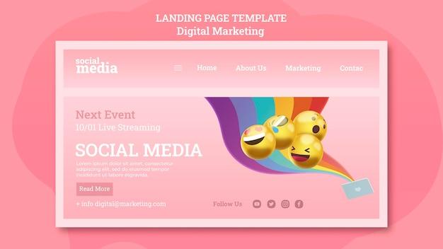 Página de destino da mídia social