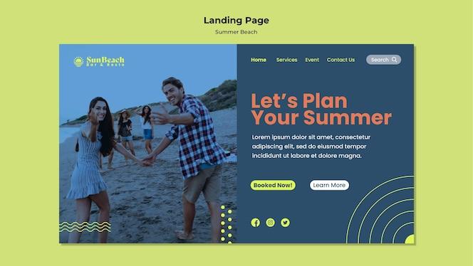 página de destino da praia de verão