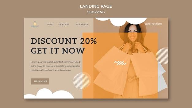 Página de destino da promoção de desconto para compras