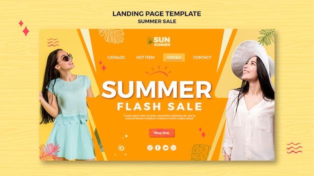 Página de destino da venda modelo verão menina