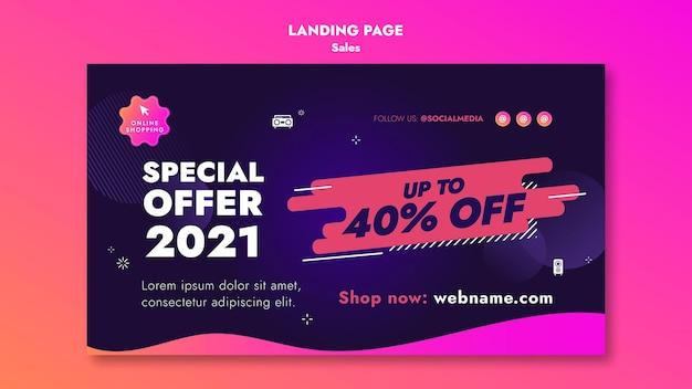 Página de destino das ofertas de vendas Psd grátis