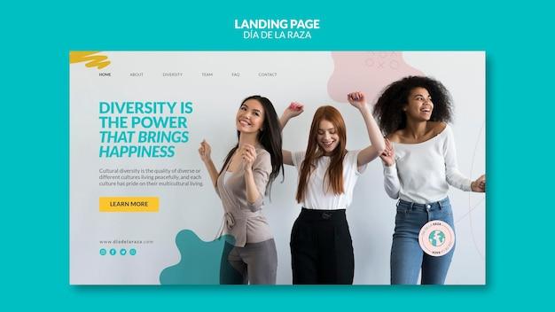 Página de destino de amigas de diversas etnias