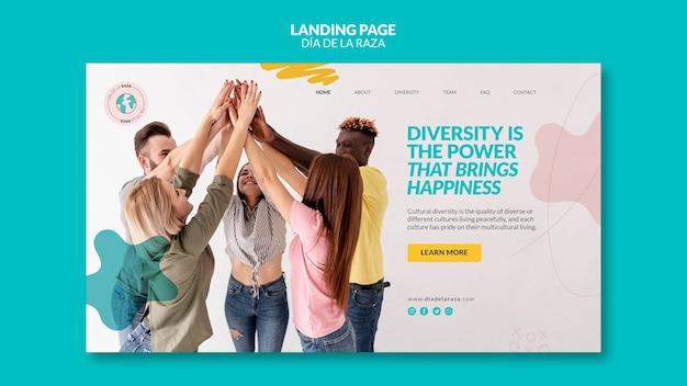 Página de destino de amigos de diversas etnias