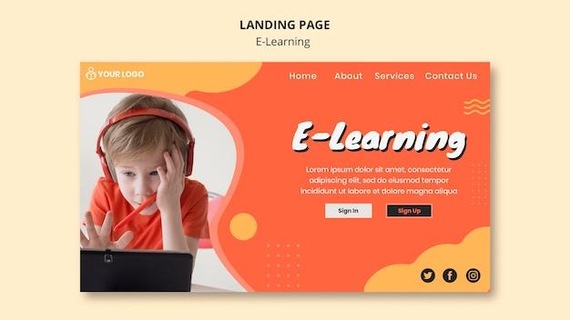 Página de destino de aprendizado e