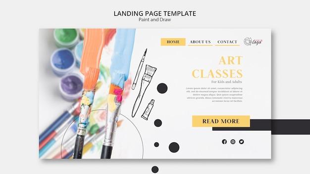 Página de destino de aulas de arte para crianças e adultos