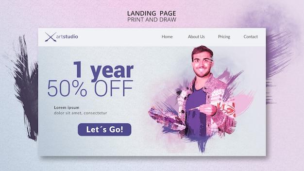 Página de destino de aulas on-line de pintura