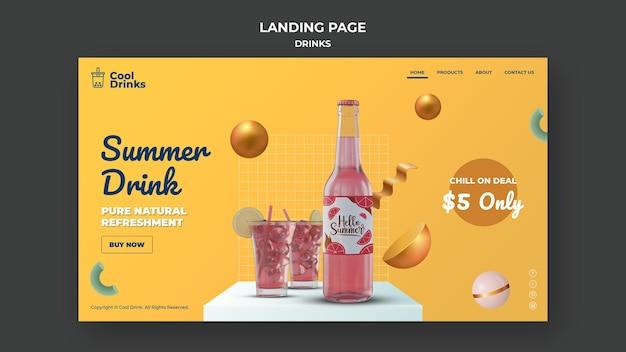Página de destino de bebidas de verão puro refresco