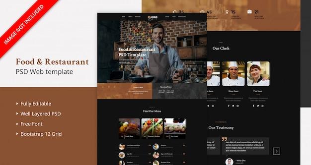 Página de destino de comida e restaurante
