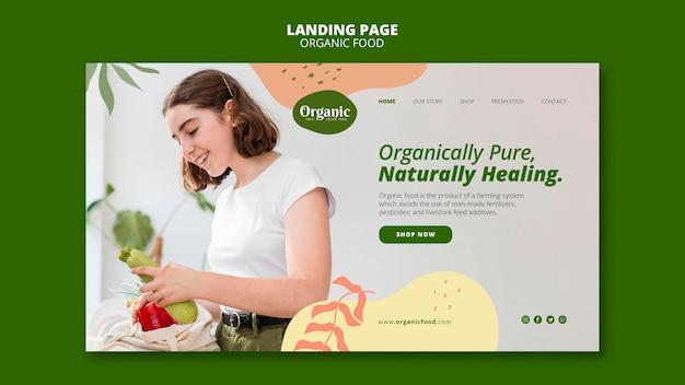 Página de destino de comida orgânica deliciosa