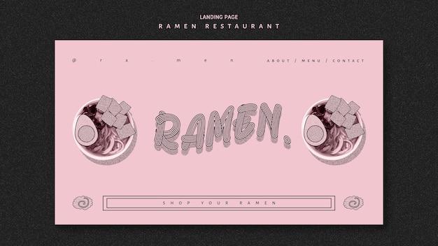 Página de destino de delicioso restaurante ramen