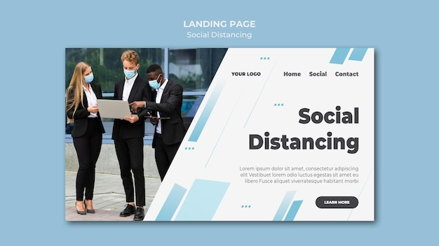 Página de destino de distanciamento social
