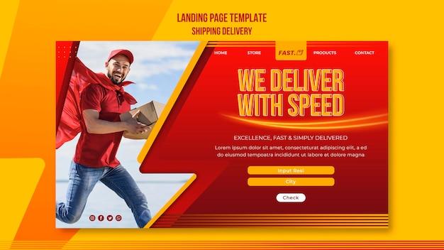 Página de destino de entrega de remessa