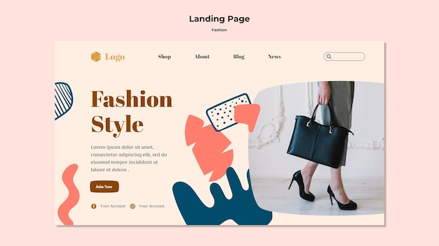 Página de destino de estilo de moda