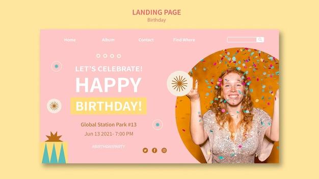 Página de destino de feliz aniversário