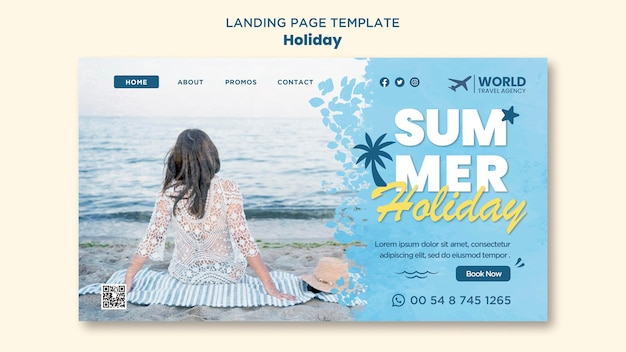Página de destino de férias