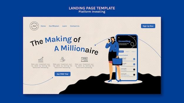 Página de destino de investimento da plataforma