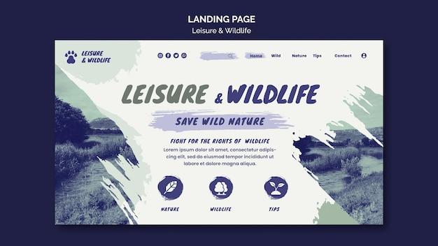 Página de destino de lazer e vida selvagem