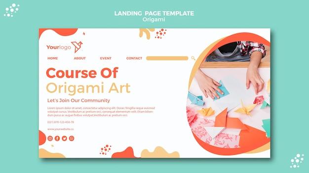 Página de destino de origami