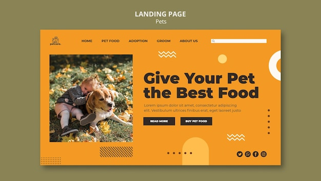 Página de destino de pet food