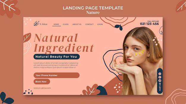Página de destino de produtos naturais para a pele