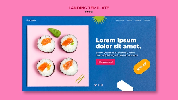 Página de destino de sushi delicioso