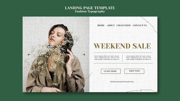 Página de destino de tipografia de moda