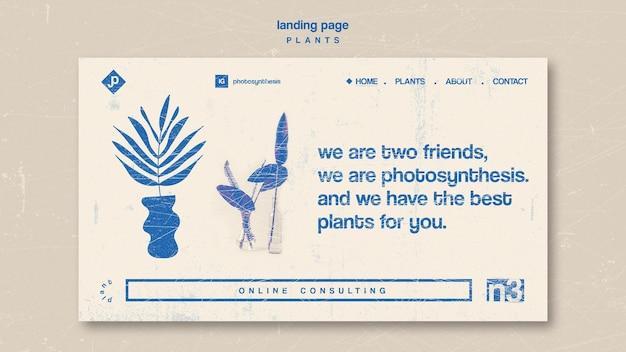 Página de destino de vários tipos de plantas de interior
