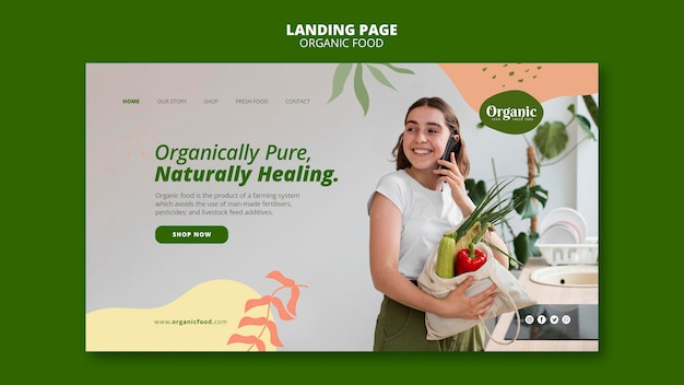 Página de destino de vegetais puros organicamente