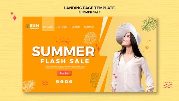 Página de destino de venda e mulher de verão
