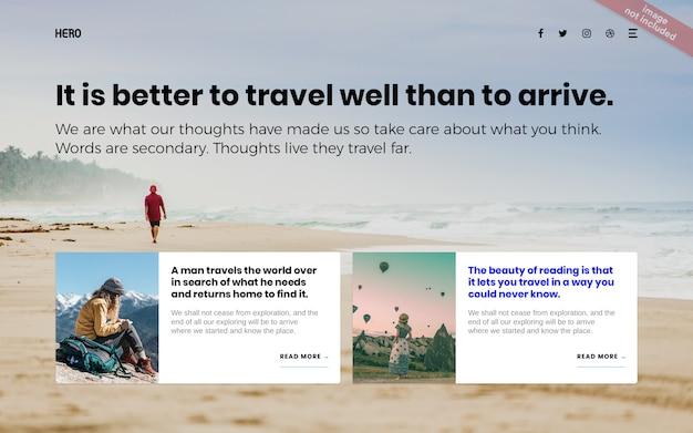 Página de destino de viagem de férias herói