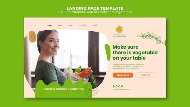 Página de destino do ano de frutas e vegetais