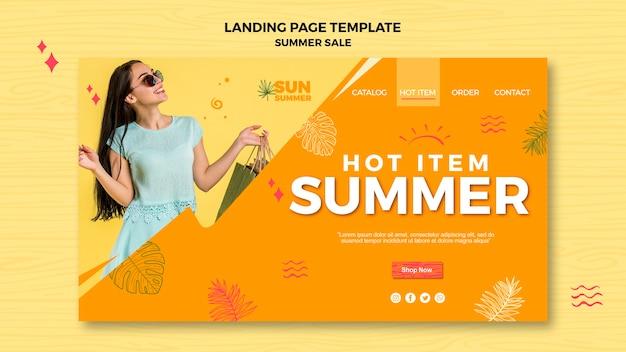 Página de destino do anúncio de vendas de verão para meninas modelo