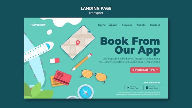 Página de destino do aplicativo de reserva de transporte