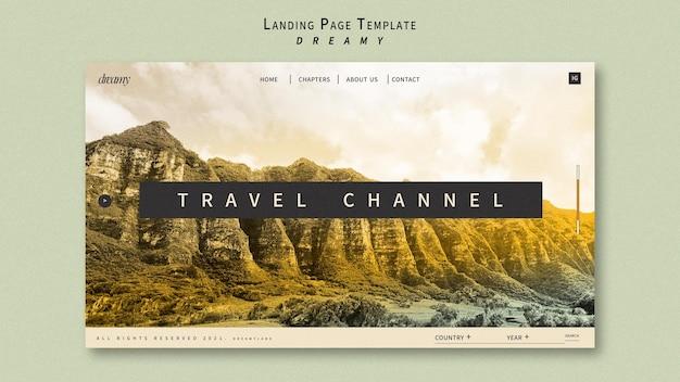 Página de destino do canal de viagens