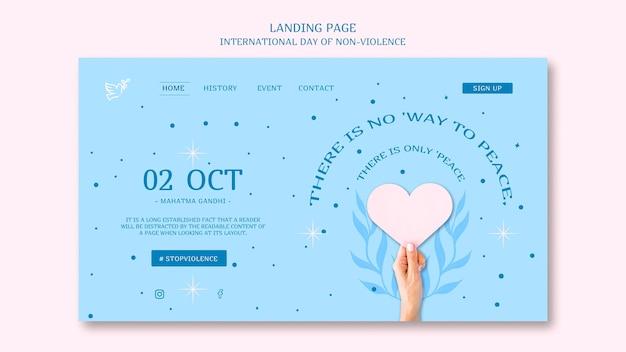 Página de destino do dia internacional da não-violência