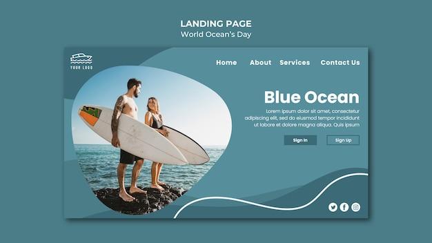 Página de destino do dia mundial do oceano