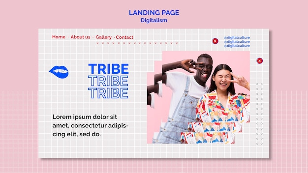 Página de destino do digitalismo de homem e mulher da tribo