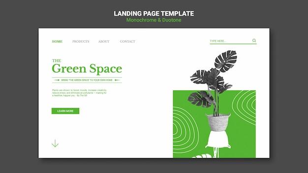Página de destino do espaço verde