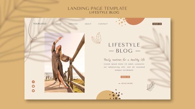 Página de destino do estilo de vida do blogger