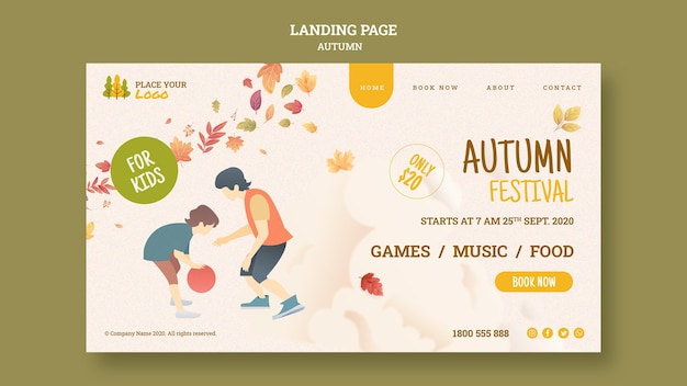 Página de destino do festival de outono para crianças