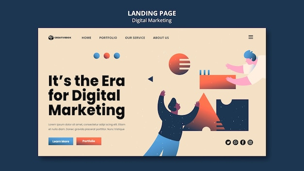 Página de destino do marketing digital