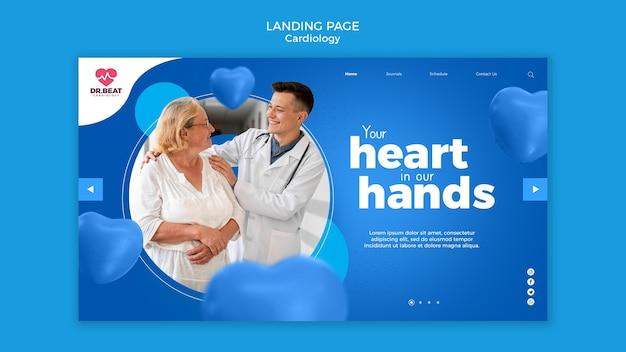 Página de destino do médico e paciente em cardiologia
