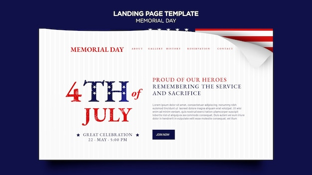 Página de destino do memorial day com bandeira