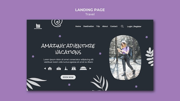 Página de destino do modelo da agência de viagens