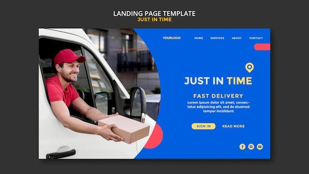 Página de destino do modelo da empresa de entrega