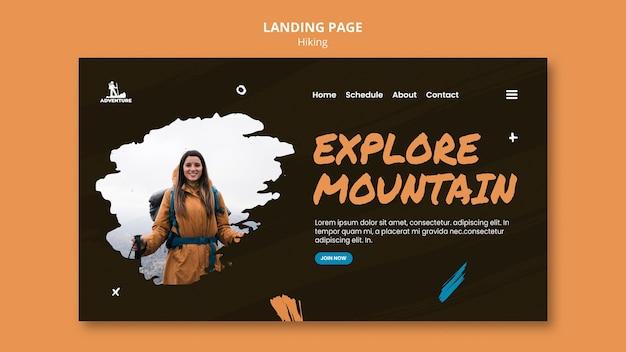 Página de destino do modelo de acampamento e caminhada