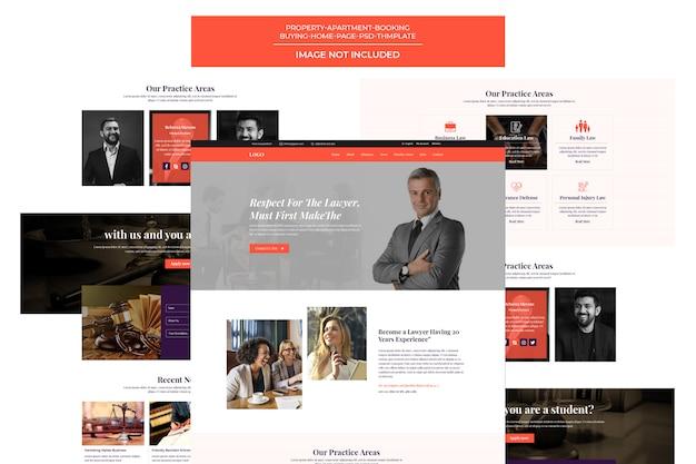 Página de destino do modelo de advogado e advogado