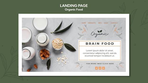 Página de destino do modelo de alimentos orgânicos