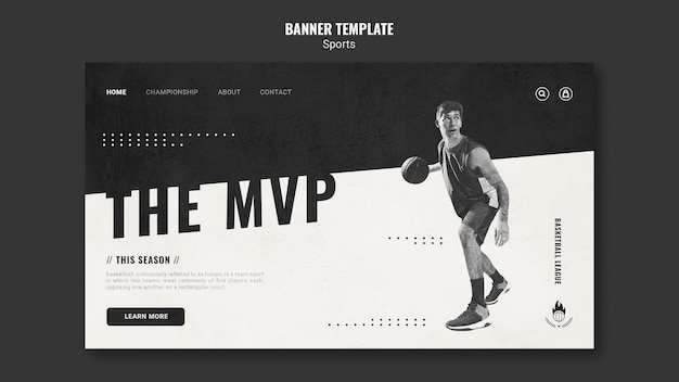Página de destino do modelo de anúncio de basquete